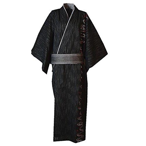 MAYSONG Men's Japanese Yukata Japanese Kimono Embroidered Robe Pajamas Dressing Gown L