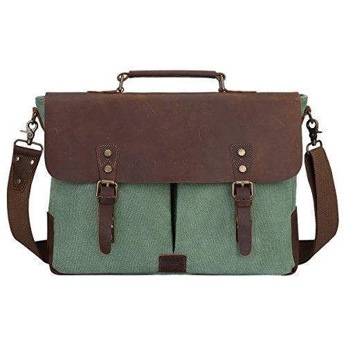 S-ZONE Canvas Messenger Bag Genuine Leather Trim Travel Briefcase Satchel Shoulder Bag 15.6-inch Laptop Bag