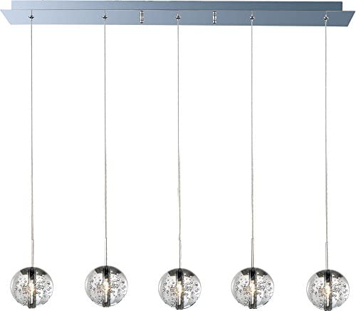 ET2 E24257-91PC Orb 5-Light Linear Pendant, Polished Chrome Finish, Bubble Glass, 12V G4 Xenon Bulb, 35W Max., Damp Safety Rated, Standard Dimmable, Natural Fiber Shade Material, 2300 Rated Lumens