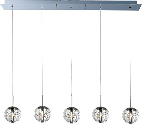 ET2 E24257-91PC Orb 5-Light Linear Pendant, Polished Chrome Finish, Bubble Glass, 12V G4 Xenon Bulb, 35W Max, Damp Safety Rated, Standard Dimmable, Natural Fiber Shade Material, 2300 Rated Lumens