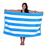 La Calla Cabana Beach Towel - 100% Terry Velour Cotton Turkish Towels - 35 Inches by 60 Inches Plush Soft and Comfortable and Extremely Absorbent; - Eco Friendly (1 Towel, Aqua)