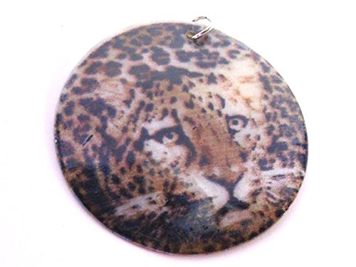 Printed Capiz Shell (1 Pendant - Exotic cheetah leopard face print natural shell pendant - MG025D)