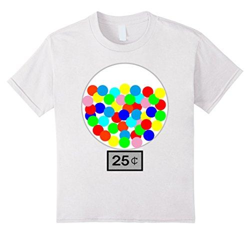 [Kids Halloween Costume DIY Idea Gumball Machine Dispenser T Shirt 12 White] (Gumball Machine Girls Costumes)