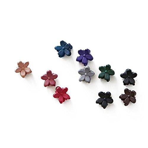 cuhair(TM) 10pcs bangs mini hair claw clip hair pin flower for girl mix colored