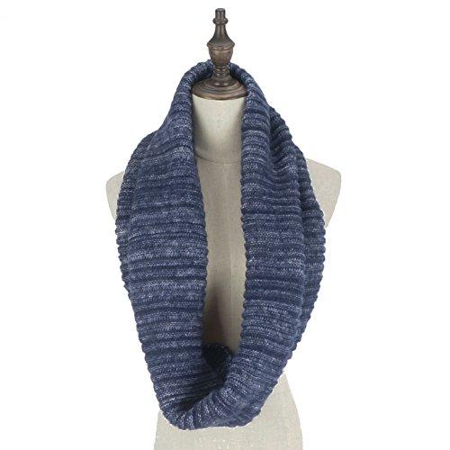 RiscaWin Women Stylish Mixed Color Thick Ribbed Knit Winter Infinity Circle Loop Scarf (Navy)