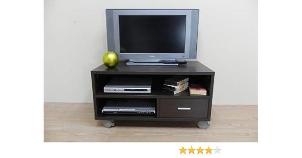Azor - Mesa tv 90 con ruedas, medidas 90 x 50 x 40 cm, color wengué: Amazon.es: Hogar