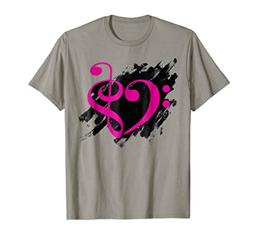 Treble Clef + Bass Clef Musical Heart Grunge Music Lover Fuchsia Pink Notes Bassist T-Shirt