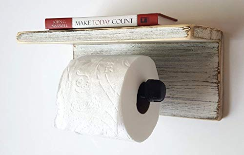 Farmhouse Bathroom Decor by Out Back Craft Shack: Pipe Toilet Paper Holder Shelf - Antique - Toilet Paper Crafts Holders