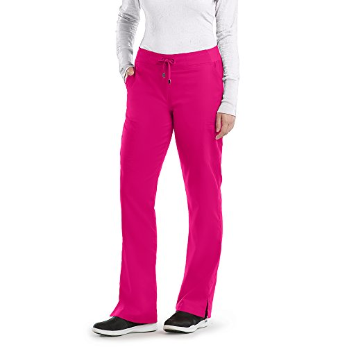 Grey's Anatomy Active 4277 Straight Leg Pant Raspberry Tart XS Petite (Adult 6 Pocket Pant)