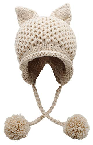 Bellady Winter Cute Cat Ears Knit Hat Ear Flap Crochet Beanie Hat,Beige