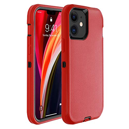 Co-Goldguard Phone Case Compatible with iPhone 12 Mini,Drop Protection Heavy Duty Hard 3 Layer Hybrid Strong Shockproof Drop-Proof Covers Strong Durable Shell,Red