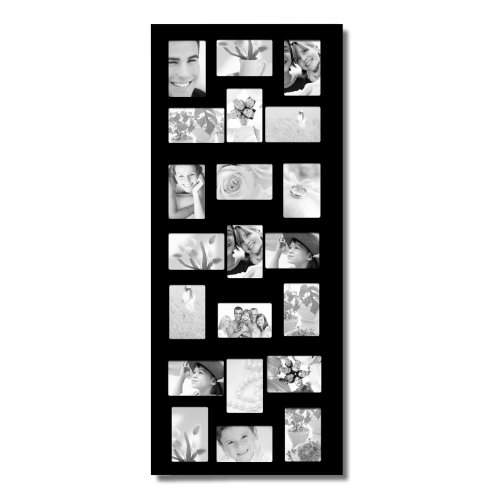 Joveco Decorative Black Wood Wall Hanging Collage Picture Photo Frame with 21 openings for 4 x 6 inch photo
