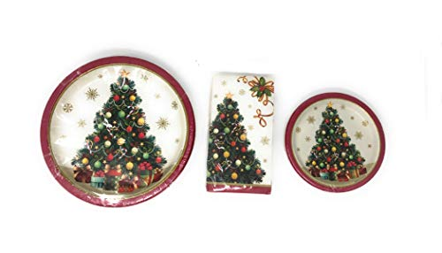 Vintage Gilded Christmas Tree Disposable Dinner Plates With Matching Desert Plates and Napkins Set-3 Packages Servings…