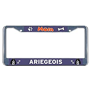 Sign Destination Metal License Plate Frame Solid Insert Ariegeois Dog Mom Car Auto Tag Holder - Chrome 2 Holes, Set of 2 2