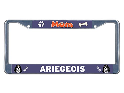 Sign Destination Metal License Plate Frame Solid Insert Ariegeois Dog Mom Car Auto Tag Holder - Chrome 2 Holes, Set of 2 1