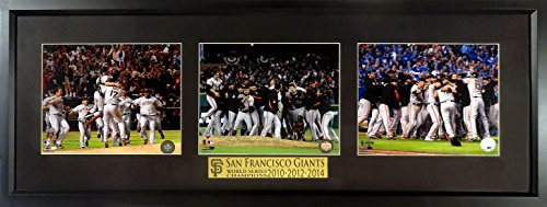 San Francisco Giants 2010-2012-2014 World Series Champions Triple Display Framed