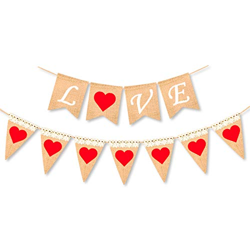 Burlap Valentines Love and Heart Banner Garland - Valentine's Day Decorations - Valentines Engagement Photo Props Burlap Banner - Wedding Anniversary Party Decorations Supplies ()