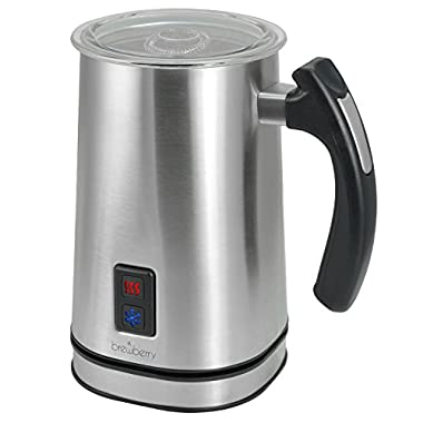 Brewberry Stainless Steel Premium Automatic Milk Frother and Warmer, Works for Hot and Cold Milk, Cappuccino, Latte, Coffee, Macchiato, and Much More