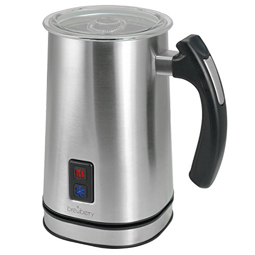 Brewberry Stainless Steel Premium Wireless Automatic Milk Frother and Heater, Works for Cappuccino, Latte, Coffee