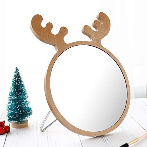 Hosoncovy Deer Wood Frame Makeup Mirror Table Mirror Desktop Mirror Cosmetic Mirror -