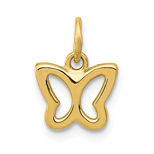 14k Yellow Gold Tiny Butterfly Charm or Pendant, 9mm (3/8 inch)