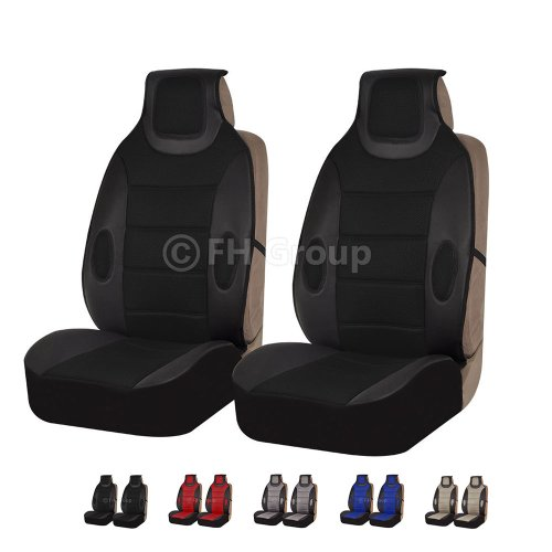 FH Group Universal Fit Front Car Seat Cushion – Leatherette (Black), Set of 2