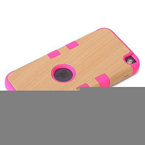 iPod Touch 5 Case génération,Touch 5 Case,Lantier Motif bois 3 en 1 en silicone souple + plastique dur hybride Tough Case Armure pour Appleipod Touch 5 Noir