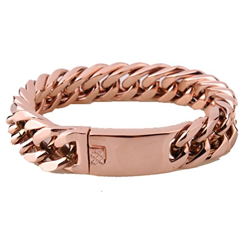 15mm Charm Rose Gold Cuban Curb Link Chain Bracelet For Mens Stainless Steel Jewelry 8.66