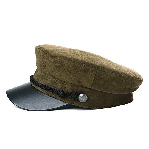 Womens Greek Fisherman Newsboy Cap Fashion Cotton Lining Winter Fall Suede Rope Hat Army -