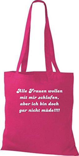 Shirtstown - Bolso de tela de algodón para mujer rosa - fucsia