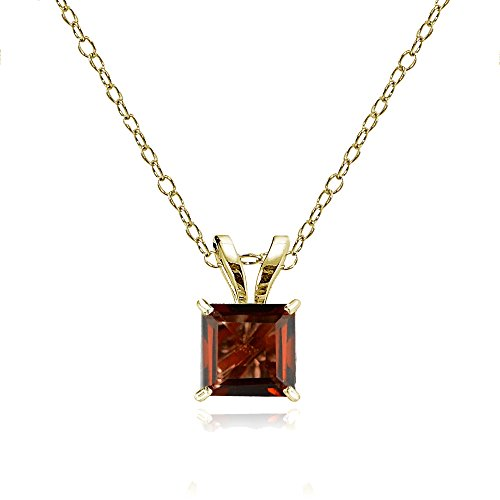 Bria Lou 14k Yellow Gold Garnet Gemstone 5mm Square-Cut Solitaire Pendant Necklace, 18
