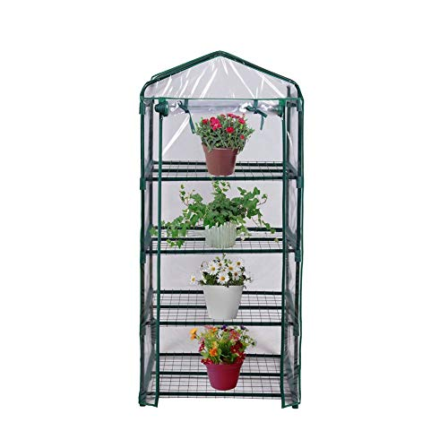 FORUP Mini Greenhouse 4 Tier, 27'' L x 19'' W x 62'' H (Green) by FORUP