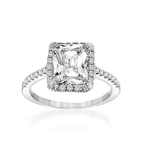 MIA SARINE Cubic Zirconia Emerald Cut Center Engagement Ring for Women in Rhodium Plated Sterling Silver (Size 8)