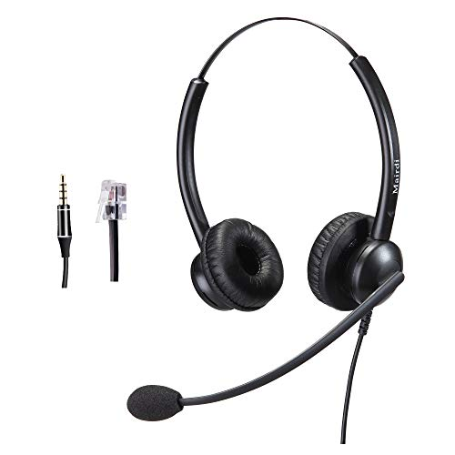 Telephone Headset with RJ9 Jack for Phone with Noise Cancelling Microphone  Plus Extra 3 5mm Connector for Mobiles Compatible with Toshiba Mitel Aastra