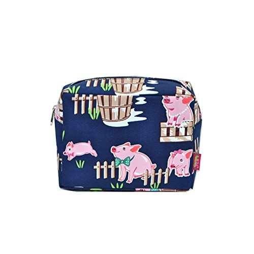 (N. Gil Large Travel Cosmetic Pouch Bag 2 (Pig Navy Blue))