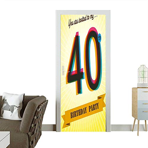 Art Door Stickers Vintage Graphic Banner Party Invitation Theme Optical Striped Door Decals for Home Room DecorationW31 x H79 INCH -