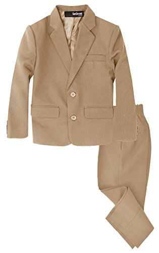 - G218 Boys 2 Piece Suit Set Toddler to Teen (Medium/6-12 Months, Taupe)