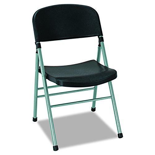 Cosco 36869PLB4 Endura Series Molded Folding Chair, Platinum Frame/Black Back/Seat (Case of 4)