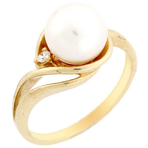 14k Solid Yellow Gold Freshwater Cultured Pearl & CZ Swirl Elegant Ring