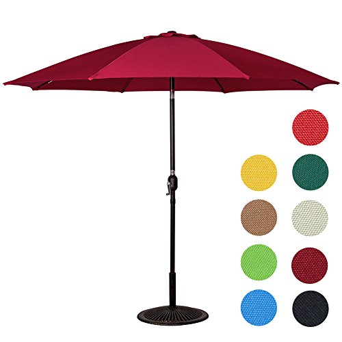 Sundale Outdoor 9 Feet Aluminum Patio Umbrella with Crank and Push Button Tilt, 8 Fiberglass Ribs, Burgundy