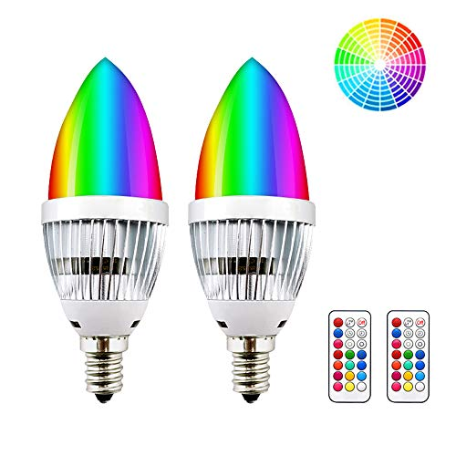 E12 Candelabra RGB LED Light Bulbs, Lustaled 3W Dimmable C35 Color Changing LED Candle RGBW Lamp with IR Remote Controller for Home Bar Party Mood Lighting (RGB+Warm White, 2-Pack)