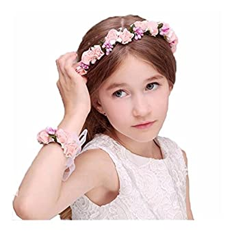 2f90993518d05 QIAONAI フラワーガールに変身 ヘッドドレス 可愛い 子供用髪飾り ヘアアクセサリー 花冠 花