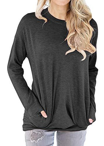 (TWKIOUE Women's Casual Long Sleeve Round Neck Sweatshirt Loose Pullover Tunic Tops Dark Grey)