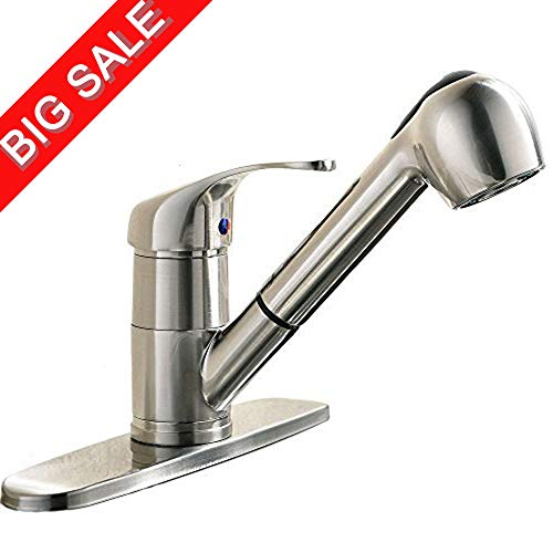 VCCUCINE Best Modern Brushed Nickel Single Handle Stainless Steel Pull Out Sprayer Bar Kitchen Sink Faucet, Pull Down Kitchen Faucet with Deck Plate (Bar Lever Faucet C-spout)