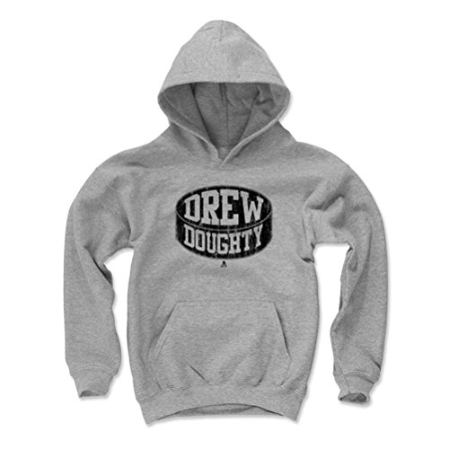 500 LEVEL's Drew Doughty Kids Youth Hoodie S Gray - Los Angeles Hockey Fan Gear Officially Licensed by the NHL Players Association - Drew Doughty Puck K