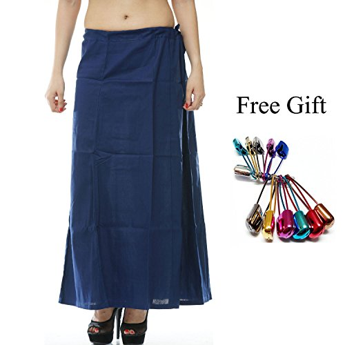 aree Petticoat Cotton Underskirt Lining for Sari + Free Sari Pin (Blue) ()