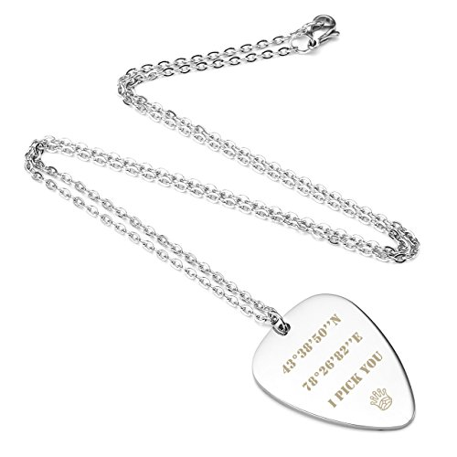 Personalized Master Free Engraving Custom Stainless Steel Guitar Pick Pendant Necklace Valentine