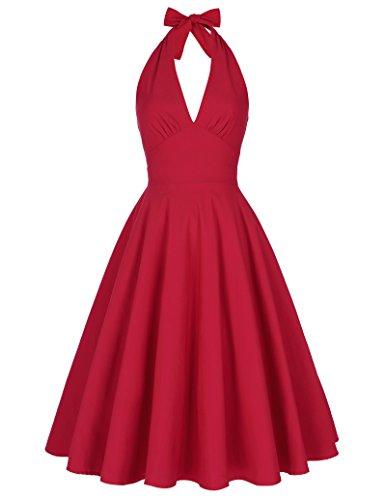 red halter dress - 2