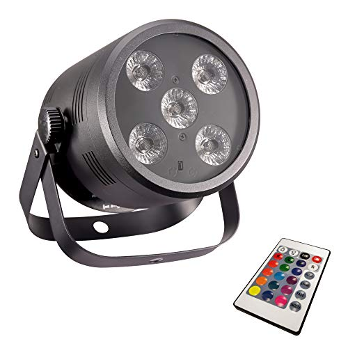 (DragonX RGBAW UV 6in1 LED Par Can DJ Stage Wash Up Light - 5x10W RGB White Amber Multi Color Party Spotlight with Remote Control (DMX Controller Compatible Lighting))