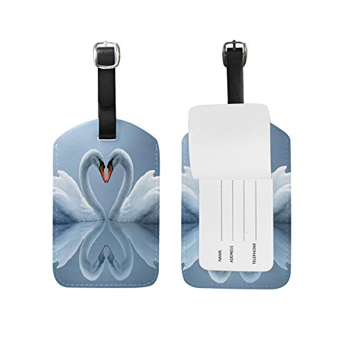 FunnyCustom Luggage Tags White Swans Couple Heart Reflection for Traveling by FunnyCustom